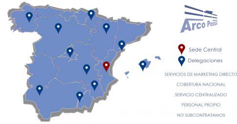 Mapa de Asociados de Arco Postal Group.Cobertura Nacional.Servicios de Buzoneo y Marketing Directo.Reparto de Publicidad.